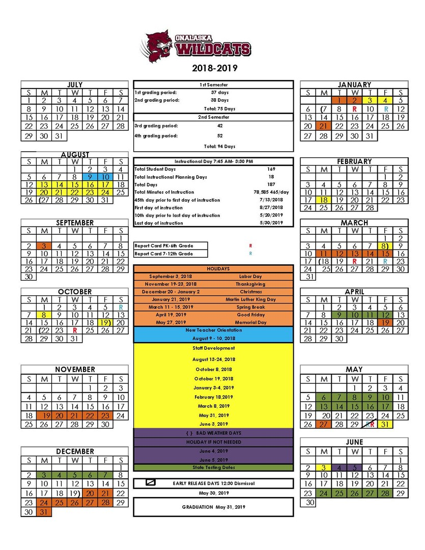 updated school calendar